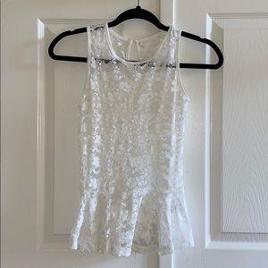 3/35 NWOT Vintage White Lace Peplum Top